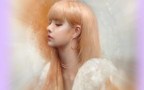 Картинка серьги, блондинка, профиль, азиатка, art, челка, закрытые глаза, портрет девушки, Justine Florentino