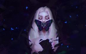 Картинка Девушка, Бабочка, Блондинка