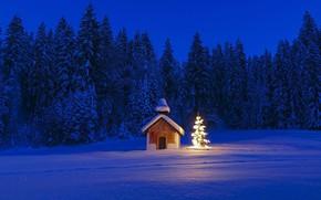 Картинка зима, Германия, Бавария, Рождество, часовня