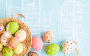 Картинка яйца, Пасха, happy, wood, blue, eggs, easter, decoration