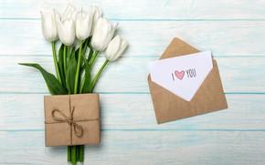 Картинка любовь, подарок, букет, love, romantic, tulips, valentine's day, letter, День Валентина, gift box, белые тюльпаны