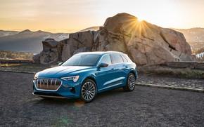 Картинка закат, Audi, вечер, E-Tron, 2019, электрокроссовер, 55 Quattro