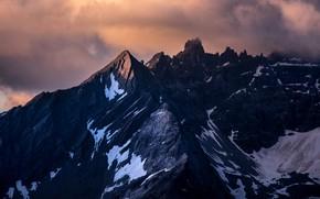 Картинка небо, снег, горы, тучи, высота, пезаж, снежные вершины, суровая красота, рельефные