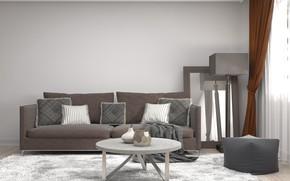 Картинка дизайн, диван, интерьер, зеркало, столик, гостиная, модерн