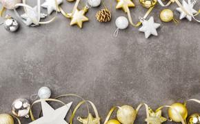 Картинка украшения, шары, Новый Год, Рождество, silver, golden, Christmas, balls, New Year, decoration, Merry