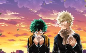 Картинка Закат, аниме, арт, парни, персонажи, Boku no Hero Academia, My Hero Academia, Моя Геройская Академия, …