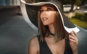 Обои взгляд, девушка, лицо, стиль, волосы, рука, портрет, шляпа, макияж, маникюр, Дарья Близнякова, Alexander Drobkov-Light