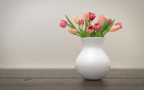 Картинка цветы, букет, тюльпаны, ваза
