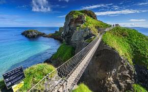 Картинка море, небо, мост, скалы, Великобритания, Ballintoy
