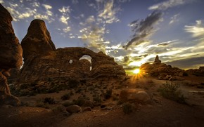 Обои закат, Юта, США, Arches National Park