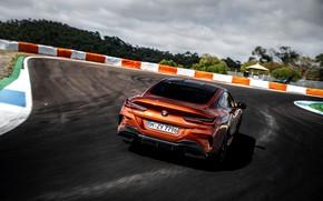 Картинка купе, поворот, BMW, трек, Coupe, 2018, 8-Series, тёмно-оранжевый, M850i xDrive, 8er, G15