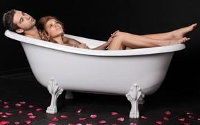 Картинка взгляд, девушка, ванна, мужчина, влюбленные