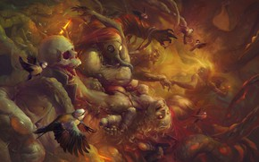 Картинка Рисунок, Монстры, Птицы, Art, Зомби, birds, Illustration, Zombies, Ghoul, by Peter Polach, Peter Polach