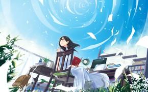 Картинка небо, девушка, стол, стул, листы бумаги