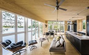 Картинка интерьер, кухня, гостиная, столовая, Cottage on the lake