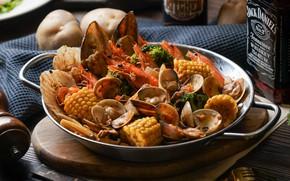 Картинка кукуруза, морепродукты, мидии
