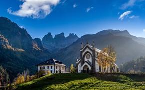 Картинка горы, дом, синева, скалы, вид, Альпы, церковь, архитектура
