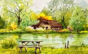 Картинка деревья, абстракция, рендеринг, рисунок, холст, начало осени, акрил, Домик у озера, зелень природы