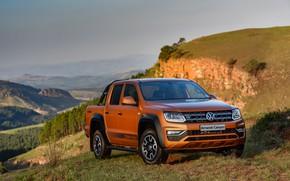 Картинка растительность, склон, Volkswagen, пикап, Amarok, Canyon, 2019