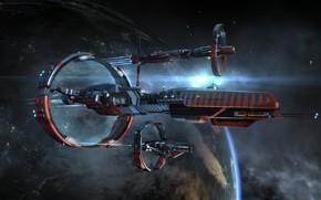 Картинка космос, туманность, планета, space, космический корабль, eve online, space ship, космоопера