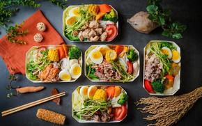 Обои яйца, мясо, овощи, помидоры, сервировка