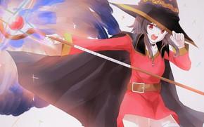 Картинка девушка, шляпа, плащ, Kono Subarashii Sekai Ni Shukufuku Wo!