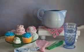 Картинка посуда, пирожные, маффины