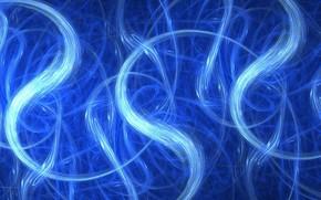 Картинка абстракция, синий фон, извилистые линии