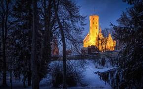 Картинка зима, ночь, огни, башня, Германия, Баден-Вюртемберг, замок Лихтенштайн