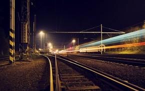 Картинка ночь, город, железная дорога
