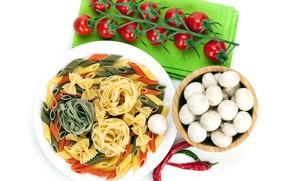 Картинка грибы, белый фон, помидоры, острый перец, макаронные изделия