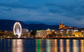 Картинка ночь, город, фото, причал, Switzerland, Женева, Genevа
