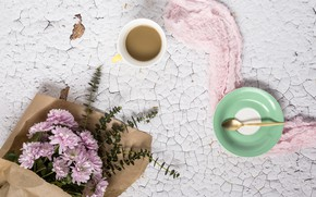 Картинка цветы, фон, розовые, хризантемы, wood, pink, flowers, cup, coffee, violet, чашка кофе