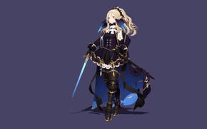 Картинка девушка, меч, фэнтези, эльфийка