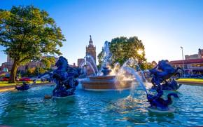 Картинка J.C. Nichols Memorial Fountain, деревья, площадь, Kansas City, Missouri, Миссури, Канзас-Сити, фонтан