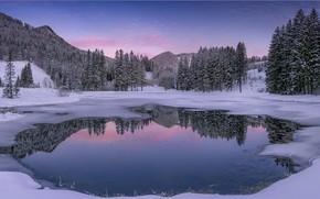 Картинка зима, снег, пейзаж, горы, озеро, мороз