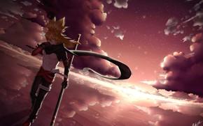Картинка небо, закат, парень, AOTU Shijie