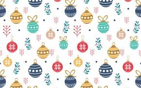 Картинка шарики, игрушки, рождество, christmas, balls, pattern, cute, seamless