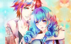 Картинка взгляд, рука, рыжий, куртка, голубые глаза, голубые волосы, обнимает, чёлка, парень с девушкой, цветной фон
