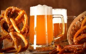 Картинка бокал, пиво, крендель