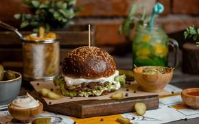 Картинка бутерброд, картофель фри, гамбургерам, Фаст фуд