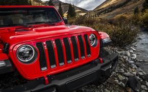 Картинка красный, ручей, решётка, бампер, 2018, Jeep, Wrangler Rubicon