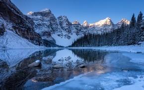 Картинка Зима, Отражение, Горы, Озеро, Лёд