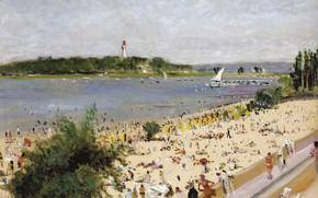 Картинка пейзаж, картина, Лазурный Берег, Люсьен Адрион, Lucien Adrion