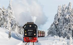 Картинка зима, лес, паровоз, железная дорога