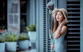 Картинка взгляд, девушка, шляпа, платье, азиатка, милашка, боке