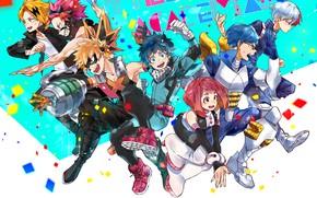 Картинка класс, персонажи, ученики, My Hero Academia, Boku No Hero Academia, Моя Геройская Академия