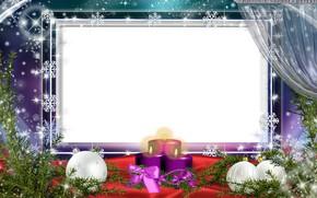 Картинка шарики, снежинки, ветки, сияние, праздник, шары, свечи, Рождество, белый фон, Новый год, занавески, ёлка, бант, …