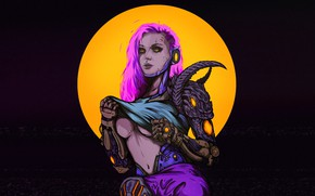 Картинка Девушка, Рисунок, Стиль, Girl, Фон, Арт, Art, Style, Фантастика, Fiction, Киборг, Illustration, Cyborg, Figure, Cyberpunk, …