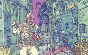 Картинка Город, Робот, Полиция, Fantasy, Арт, Art, Robot, Фантастика, Район, Киборг, Бандиты, Sci-Fi, Киберпанк, Cyberpunk, by …